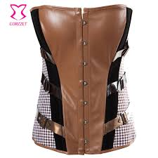brown leather corsets and bustiers vintage burlesque clothing gothic steampunk corset y corpetes corseletes korsett for women