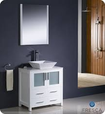 V 30u2033 Torino White Modern Bathroom Vanity W Vessel Sink