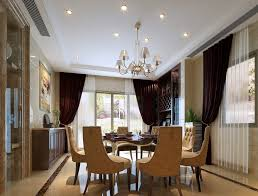 Dining Room:Nice Decoration Idea For Dining Room Ceiling Using Crystal Lamp  Also Black And