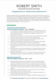 Corporate Account Executive Resume Samples Qwikresume