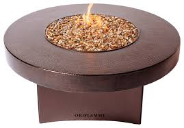 oriflamme gas fire pit table hammered copper 48 round