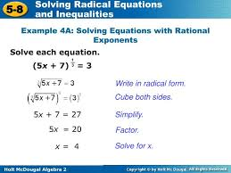 1 3 example 4a solving equations with rational exponents