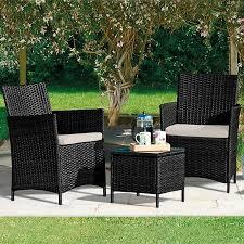 seville rattan garden bistro set black with furniture cover waltons sheds