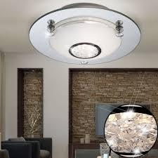 Wohnzimmer Glas Opal Chrom Decken Leuchte Lampe Kristalle 6 5