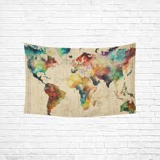 artsadd wall art home decor tapestry retro watercolor world map cotton linen hanging modern hangings metal