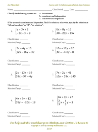 one solution no solution infinite solutions worksheet best of systems linear equations in three variables worksheet