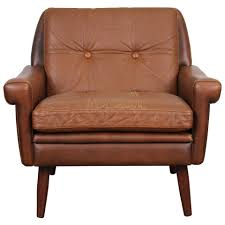 danish modern brown leather chair by skipper mobler for