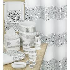 bathroom accessories sets silver. Popular Bath Sinatra White Shower Curtain And Accessories Bathroom Sets Silver S