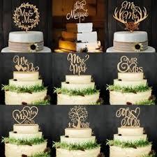 Romantic Wooden Mr Mrs Bride Groom Cake Topper Wedding