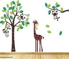 monkey tree jungle nursery wall art stickers decals giraffe childrens bedroom uk on wall art childrens bedrooms uk with monkey tree jungle nursery wall art stickers decals baby childrens