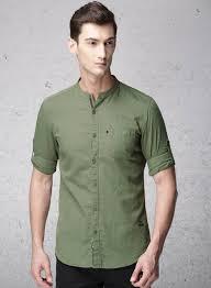 Ecko Unltd Olive Green Slim Fit Solid Casual Shirt