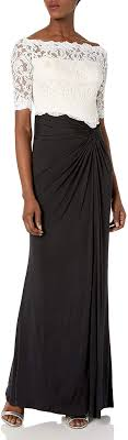 The breath taking open back is sure to wow the crowd. Amazon Com Mac Duggal Women S Lace Off The Shoulder Gown With High Slit Clothing