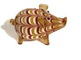 2003 Fitz & Floyd Glass Menagerie Art Glass Colorful Pig Figurine for sale  online
