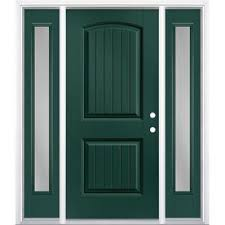 Image Olive Green Masonite Clear Glass Lefthand Inswing Evergreen Painted Fiberglass Prehung Entry Door With Sidelights And Lowes Green Entry Doors At Lowescom