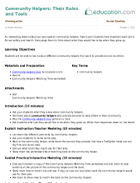 Community Helpers Their Roles And Tools Lesson Plan Education