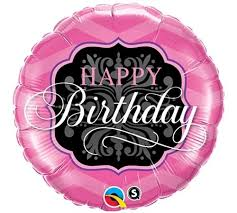 Chic Pink Black Birthday Balloon For Her
