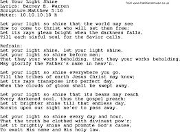 Let The Light In Lyrics Good Old Hymns Let Your Light Shine Lyrics Sheetmusic