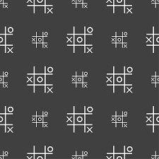 Tic Tac Toe Game Vector Icon Sign Seamless Pattern On A Gray