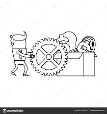 Businessman Pushing Gear Box Ideas Money Vector Illustration Graphic