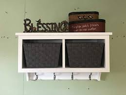 Wall Coat Rack With Baskets Best Amazon Basket Cubby Shelf With Coat Hooks And Baskets Entryway