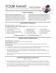 Prepossessing Interior Decorator Resume for Interior Designer Resumes