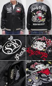 blk hot rod betty souvenir jacket skull works x betty boop name i embroider a diffe design on the chest of right and left embroidery of betty where