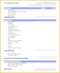 Income Expense Statement Template Income And Expenses Template Excel Metabots Co