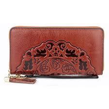 <b>Luxurious 100</b>% <b>Genuine Oil</b> Waxing Leather Flower Women Wallet ...