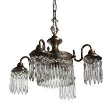 sold brilliant antique five light greek revival silver plate chandelier with prisms