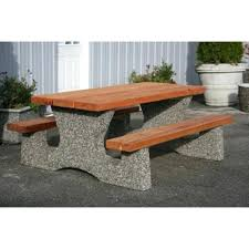 concrete picnic table and benches concrete picnic table and benches surprise rectangular with cedar top seats