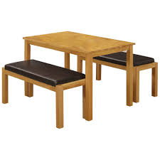 Solid Rubberwood Brown Pu Leather Dining Table And Chair Set With