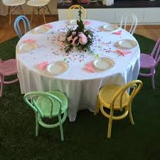 round table and kids bentwood chairs for hire mini party people melb syd