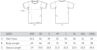 Unisex Cotton T Shirt Size Chart Size Guide Malmalo Apparel