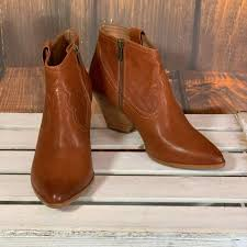 frye reina cognac leather western ankle bootie 3479257 size 9 new