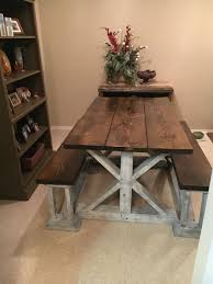 Handmade Farmhouse table with benches Handmade Furniture - http://amzn.to/