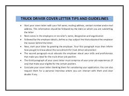 Sample Job Application Letter For A Truck Driver