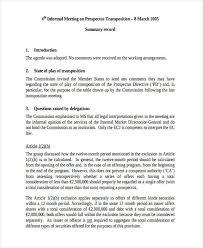 Meeting Summary Sample Meeting Summary Kadil Carpentersdaughter Co