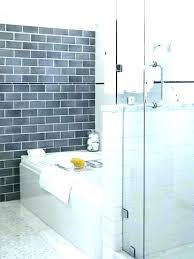 large subway tile bathroom wall gray 1 oversized glass shower til
