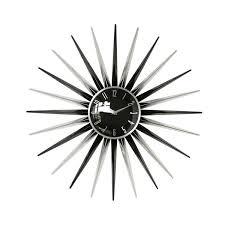 retro black sunburst wall clock