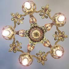 137b vintage 20s 30s ceiling light art nouveau polychrome chandelier 1 0f 2