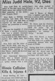 Judd Hale - of 340 Garfield - dies 1972 - 92 yrs old - Newspapers.com