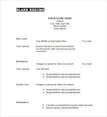 blank resume templates blank resume templates - Resume Templates Blank