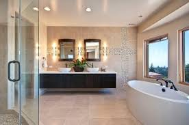 modern bathroom sink cabinets. Bathrooms:Gorgeous Bathroom With Oval Bath Tub And Floating Sing Cabinet Use Double Sink Modern Cabinets E