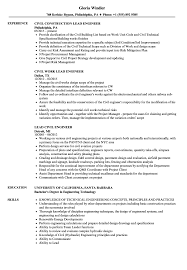 Lead Civil Engineer Resume Samples Velvet Jobs Construction Engineering Technology Degree Jobs