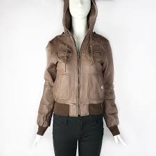 miss sixty short brown leather jacket