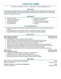 Human Resource New Resume Sample For Human Resource Position
