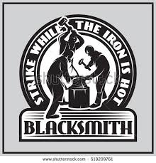 smithy logo. monochrome emblem in retro style with three blacksmiths working the smithy logo r