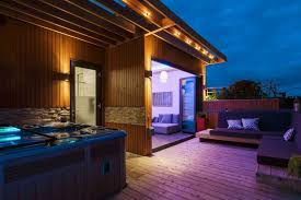 outdoor wall lighting ideas. Deck Lighting Idea With Rope Lights Under Pergola And Outdoor Wall Sconces Ideas