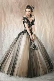 vintage black nude non white two tone tulle gothic wedding dresses