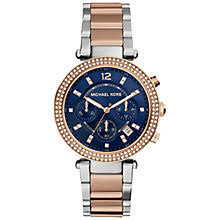 michael kors women s watches john lewis buy michael kors mk6141 women s parker chronograph bracelet strap watch rose gold silver online